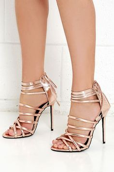 Lift Your Spirits Rose Gold Caged Heels at Lulus.com $39
