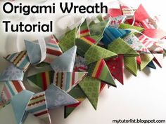 Origami Wreath Tutorial - Use Christmas wrapping paper. Origami Wreath, Origami Ornaments, Paper Ornaments, Origami Stars, Origami Paper, Oragami, Easy Origami Star, Origami Envelope, Origami Boxes