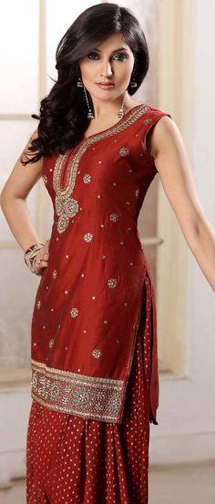 #Red Chanderi #Silk Salwar Suit @ $138.19 | Shop Now @ http://www.utsavfashion.com/store/sarees-large.aspx?icode=krf41