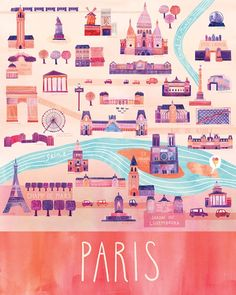 "Here & There - City Map Illustrations. Cityscape illustrations of Paris, San Francisco, Vancouver, Venice, and Milwaukee from the series ""Here & Travel Maps, Paris Travel, Travel Posters, Travel Quotes, Torre Eiffel Paris, Tour Eiffel, Paris 3, I Love Paris, Pink Paris"