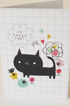 Oh happy day Cat- Greeting card- A6