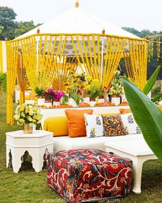 From the kalamkari prints to the marigold adorned structures youll surely love every bit of this magical affair! Desi Wedding Decor, Home Wedding Decorations, India Wedding, Wedding Reception, Mehendi Decor Ideas, Mehndi Decor, Outdoor Drapes, Outdoor Decor, Mushroom Decor