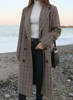 Enjoy the cold winter breeze in Daily About cozy checkered coat!