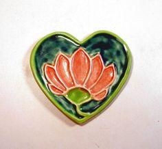 Pretty Lotus Heart Porcelain Ceramic Buddhist Spoon by jillatay