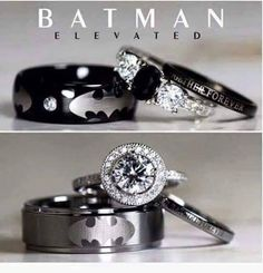 Men Wedding Rings Batman Inspired Unique Sterling Silver Tungsten Natural Black Onyx And Cubic Zirconia Wedding Set, Jewelry Gift for Man - Batman Wedding Ring Sets - Engagement Ring - Wedding Band Batman Wedding Rings, Wedding Bands For Him, Black Wedding Rings, Unique Wedding Bands, Wedding Band Sets, Black Rings, Trendy Wedding, Gold Wedding, Dream Wedding