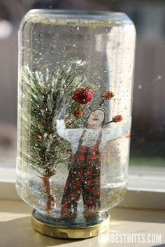 Cute personalized snow globes to make with students to give to parents- just glitter inside, no water!