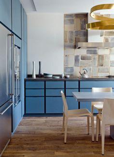 Sky blue kitchen cabinets