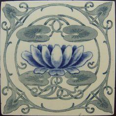 Art Nouveau tile - would look great around the fireplace Victorian Tiles, Antique Tiles, Vintage Tile, Motifs Art Nouveau, Azulejos Art Nouveau, Art Nouveau Tiles, Art Nouveau Design, Jugendstil Design, Decorative Tile