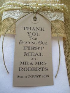 100 Wedding Napkin Ties-Wedding Table Decor Tags Personalized Thank You for Sharing Our First Meal-Set of 100 Wedding Favors by TheIvoryBow on Etsy