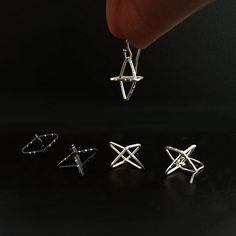 Little Cross Rhombi Earrings, dangle and stylish✴ °° ° ° ° Cross Earrings, Dangle Earrings, Crosses, Geometry, Dangles, Hair Accessories, Stylish, Silver, Beauty