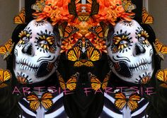 monarchs of mexico sugar skull and monarch butterflies facepaint