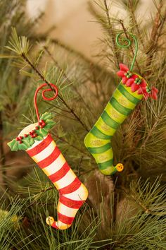 """Candy Land Stocking Ornaments (set of 2)  C8030  3""""x1""""x6""""  Price $18"""