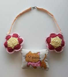 Little Girl NecklaceFabricThread PaintedCrocheted by LizzyDeane, $21.99