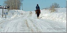 Missouri Amish man on horseback on a winter day.