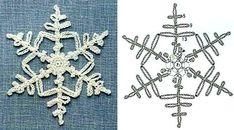 More & more snowflakes . Crochet Snowflake Pattern, Crochet Stars, Crochet Snowflakes, Crochet Blocks, Crochet Diagram, Crochet Motif, Crochet Doilies, Crochet Flowers, Crochet Winter