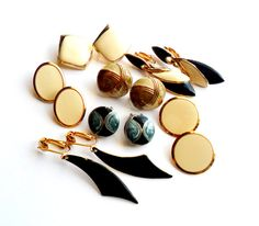 Enameled Earring Lot Vintage Instant Collection Enamel Gold Silver Tone Clip On Blue Green Cream Brown by ReneeMaeVintage