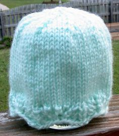 Free Knitting Pattern – Preemie Clothes: Lace Edged Preemie Hat … – Knitting patterns, knitting designs, knitting for beginners. Baby Hat Knitting Pattern, Baby Hat Patterns, Baby Hats Knitting, Crochet Baby Hats, Lace Knitting, Knitting Patterns Free, Knitted Hats, Crochet Patterns, Knitting Designs