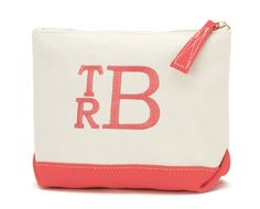 Coral Canvas Monogrammed Cosmetic Bag