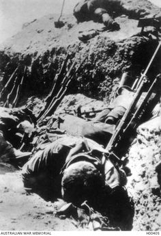 The bodies of Australian dead in the trenches following fierce fighting with Turkish forces at Gallipoli in 1915. Australian War Memorial, H00405.
