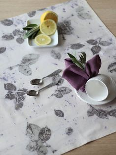 Eco Printed Table Topper  Minimalist Plant Dyed Cotton by alabatis