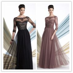 2013 Free shipping Black  A Line Sweetheart Floor length Long Tulle appliques lace Mother of the Bride formal dress  A036 $138.00