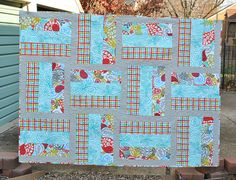 Baby Boy Quilt Modern Big Block Backyard Baby fabrics CUSTOM made ... : big block baby quilt patterns - Adamdwight.com