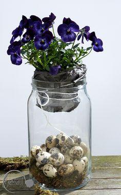 Frühlingsdeko auf www.ge-sagt.de Frühlingsblumen als Oster Schmuck im Glas
