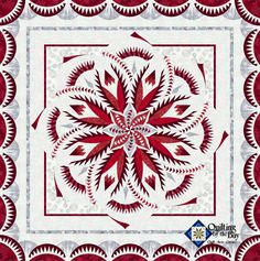 Vintage Rose quilt in Red and White | Quiltworx Judy Niemeyer