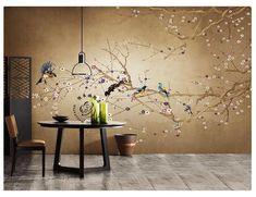 Hand Painted Branch Tree Wallpaper Wall Mural, Branches Tree with Flowers Birds Wall Mural, Fine Brushwork Birds and Flowers Wall Mural Wallpaper, Tree Branch Art, Wall Decor, Wall Wallpaper, Chinoiserie Wallpaper, Wall Murals, Wall, Wall Painting, Tree Wallpaper