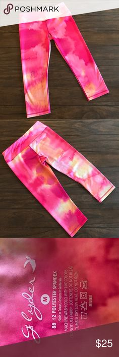 Tie Dye Pink Spandex Yoga Legging Tights Funky pink and yellow tie dye yoga leggings. Polyester spandex blend. Well made with no flaws. Thicker material that feels like Lululemon in my opinion. Hits below knee. Women's size medium 💕 Boutique Brand Pants Leggings