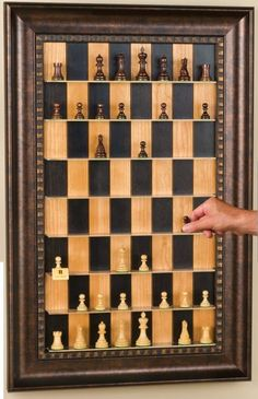 Interactive Art.  Vertical Chess Set - Hang in a well-used/traveled area for an ongoing game!  DIY
