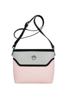 GOSHICO, ss2015, Flowerbag (cross body bag), pastel pink + grey. To download high or low resolution product images view Mondrianista.com (editorial use only).