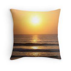 'Kawana Sunrise II' Throw Pillow by Debbie Widmer Sunrise, Surfing, Framed Prints, Throw Pillows, Beach, Photography, Image, Design, Art