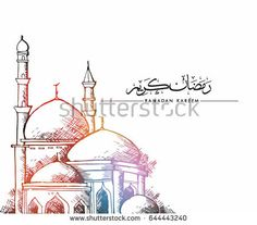 Hand drawn Sketch of mosque for ramadan greetings card with vintage Background. Vector Illustration
