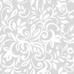 Papel de parede arabesco ramalhete em cores branco e cinza 030