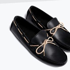 Zara: LEATHER DRIVING SHOES WITH BOW