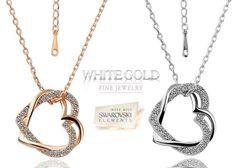 Swarovski 18K Double Heart Necklace - 83% only $19