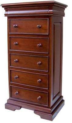 This tall Louis Philippe chest of drawers is constructed from solid mahogany in the traditional sleigh style. It has 6 drawers (5 obvious drawers and a sixth hidden 'secret' drawer in the top of the chest). Part of a range by Lock Stock and Barrel Furniture.