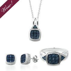 Blue Diamond Pendant, Earring & Ring Set in Sterling Silver