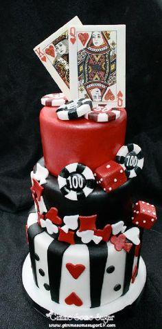 Vegas themed wedding cake
