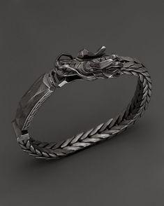 John Hardy Men's Naga Sterling Silver Dragon Head ID Bracelet with #men'sjewelry