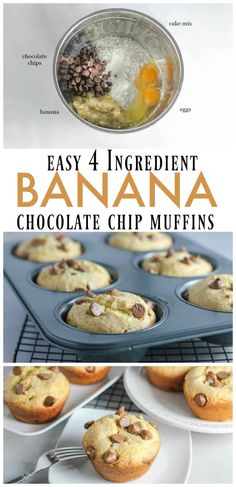 One Of Our Favorite Things To Make Are Homemade Muffins! This Banana Chocolate Chip Muffins Recipe Is So Easy To Make! The Whole Family Will Enjoy This Tasty Banana Muffins Recipe! Banana Bread Recipes, Muffin Recipes, Crockpot, Homemade Muffins, Homemade Desserts, Best Breakfast Recipes, Breakfast Ideas, Eat Breakfast, Simple Muffin Recipe