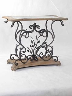 Lisbon Aged Black Iron & Light Wood Console with Glass Top http://www.ebay.com/itm/Lisbon-Aged-Black-Iron-Light-Wood-Console-Glass-Top-39L-X-20D-X-31H-NEW-/271158777781?pt=US_Tables=item3f225297b5