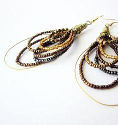 Gypsy hoop earrings, Bronze bead earrings, Gold crystals earrings, big dangle earrings, statement jewelry, multi hoops earrings, dark gold