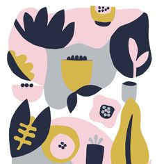 Minimalist garden art print in blush and navy. Scandinavian inspired design to bring a pop of color to the walls of any home, office or nursery! By Myriam Van Neste on Etsy (Helsinki mon amour) Illustration Techniques, Art Et Illustration, Pattern Illustration, Illustrations, Textile Prints, Art Prints, Art Mignon, Easter Art, Learn Art