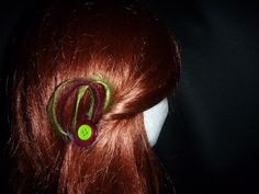 Green & Red Button Feather Clips - Top End Millinery