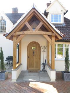 Oak Framed porch in Hampshire Cottage Front Doors, Oak Front Door, House Front Porch, Cottage Porch, Front Porch Design, House Entrance, Porch Oak, Brick Porch, Barn Conversion Exterior