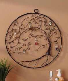 Earring Holder / Art work for bedroom wall. Awesome tree of life that's wire-wrapped to use as earring holder or just decoration! Wire Wrapped Jewelry, Wire Jewelry, Jewelery, Hang Jewelry, Jewelry Logo, Swarovski Jewelry, Dainty Jewelry, Wire Earrings, Bohemian Jewelry