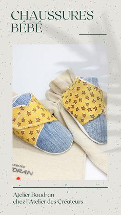 Soucieux de préserver notre planète, nos chaussures sont confectionnées en partie avec des tissus surcyclés. Une manière de créer de l'originalité tout en réduisant nos déchets. Une semelle intérieure en simili cuir et la doublure en molleton offrent tout le confort nécessaire à votre bébé. Cette création est réalisée en 6/9 mois. Longueur de semelle intérieure d'environ 11cm (+/- 2mm). Semelle extérieure en tissu coton blanc. Wild Child, Creations, France, Sneakers, Shopping, Shoes, Fashion, Silver Spoon Jewelry, Handmade