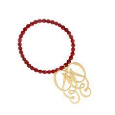 Hornica Bracelet Joy plaqué or et perles de serpentine